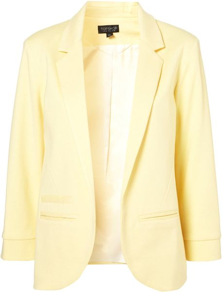 Topshop Ponte Boyfriend Blazer in Yellow (lemon) - Lyst