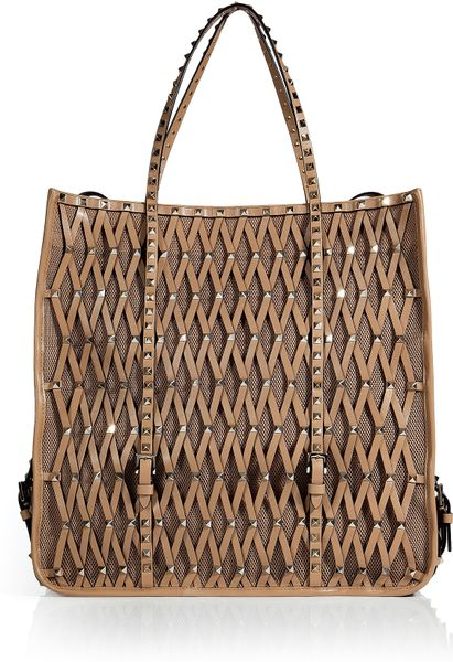 Valentino Sun Tan Studded Mesh Leather Bag in Brown (tan) - Lyst