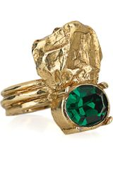Yves Saint Laurent Arty Too Goldplated Swarovski Crystal Ring - Lyst
