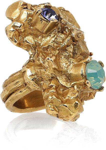 Yves Saint Laurent Arty Too Goldplated Swarovski Crystal Ring in Gold - Lyst