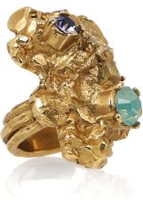 Saint Laurent Arty Too Goldplated Swarovski Crystal Ring - Lyst