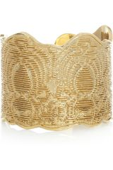 Saint Laurent Goldplated Laceeffect Cuff - Lyst