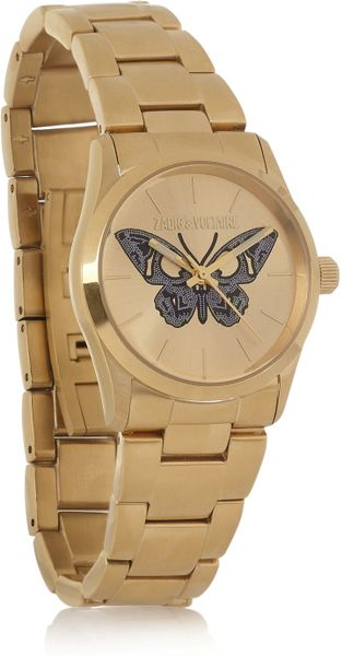 Zadig & Voltaire Coated Stainless Steel Butterfly Motif Watch in Brown (steel) - Lyst