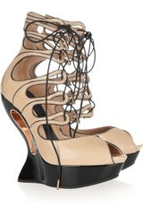 Alexander McQueen Laceup Leather Wedge Sandals