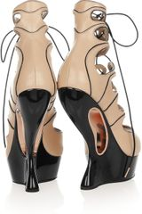 Alexander Mcqueen Laceup Leather Wedge Sandals in Black (almond) - Lyst