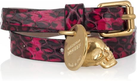 Alexander Mcqueen Elaphe and Brass Wrap Bracelet in Gold (fuchsia) - Lyst