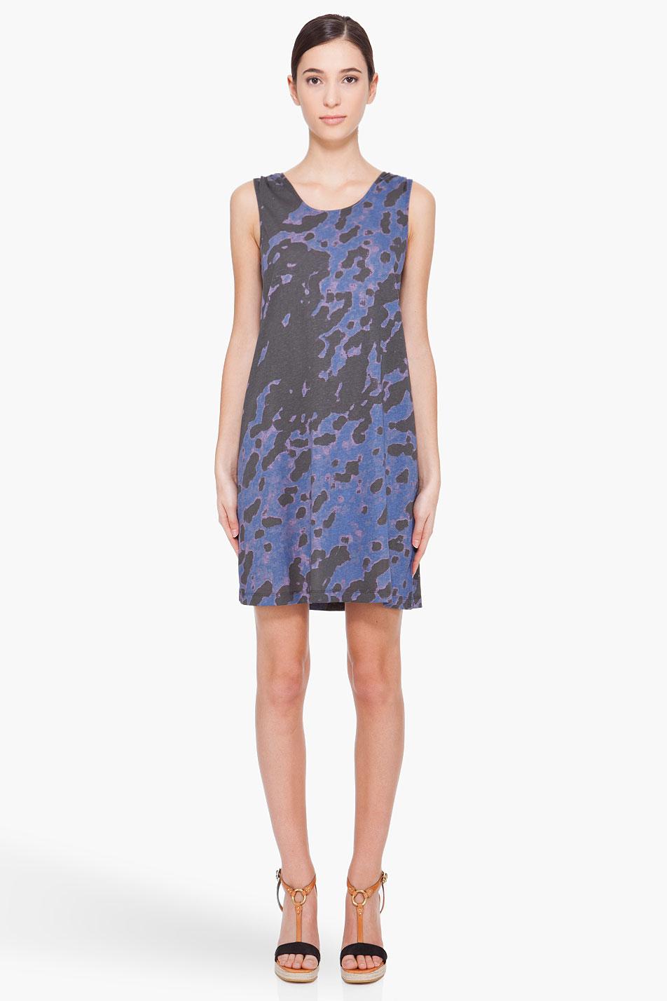 a p c blotch print robe dress in blue black lyst. Black Bedroom Furniture Sets. Home Design Ideas