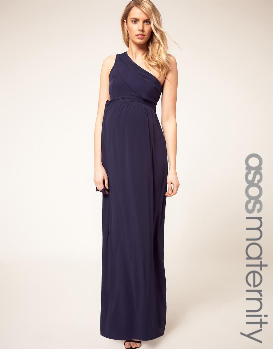 3716b209ddd ASOS Asos Maternity One Shoulder Maxi Dress in Blue - Lyst