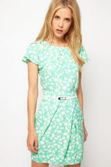ASOS Collection Asos Mini Tulip Dress with Flute Sleeves in Pastel Print - Lyst