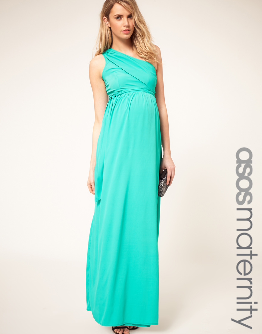 4e596e423bccf ASOS Asos Maternity One Shoulder Maxi Dress in Green - Lyst