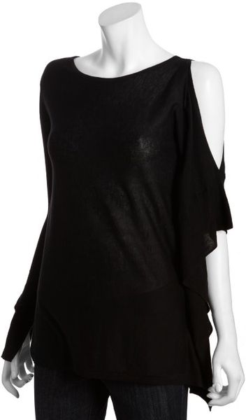 Bcbgmaxazria Black Cotton Blend Ksenia Cutout Single Shoulder Top in Black - Lyst