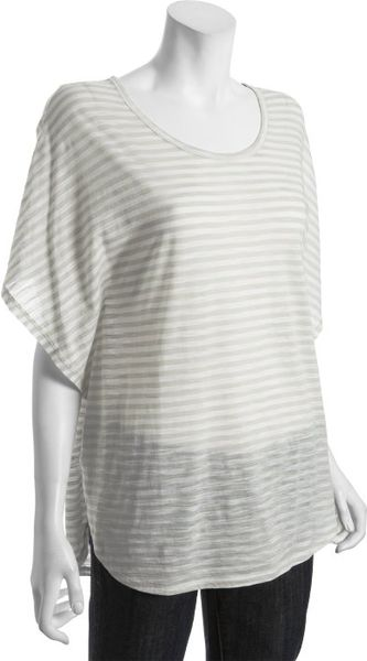 Bcbgmaxazria Sand and White Striped Slub Cottom Dolman Tshirt in Beige (sand) - Lyst