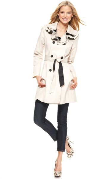 Betsey Johnson Ruffle Collar Colorblock Trench  - Lyst