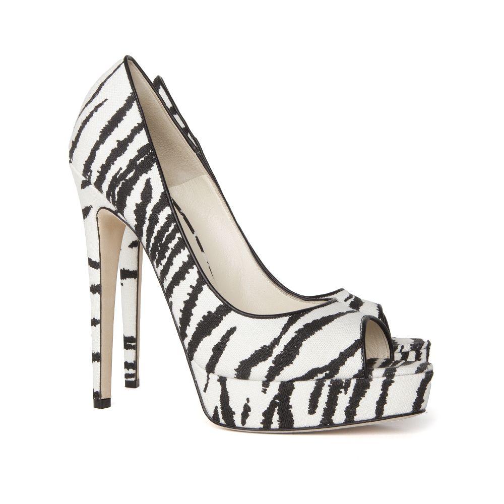Lyst - Brian Atwood Linen Zebra Print Open Toe Platform Pump de35d4870