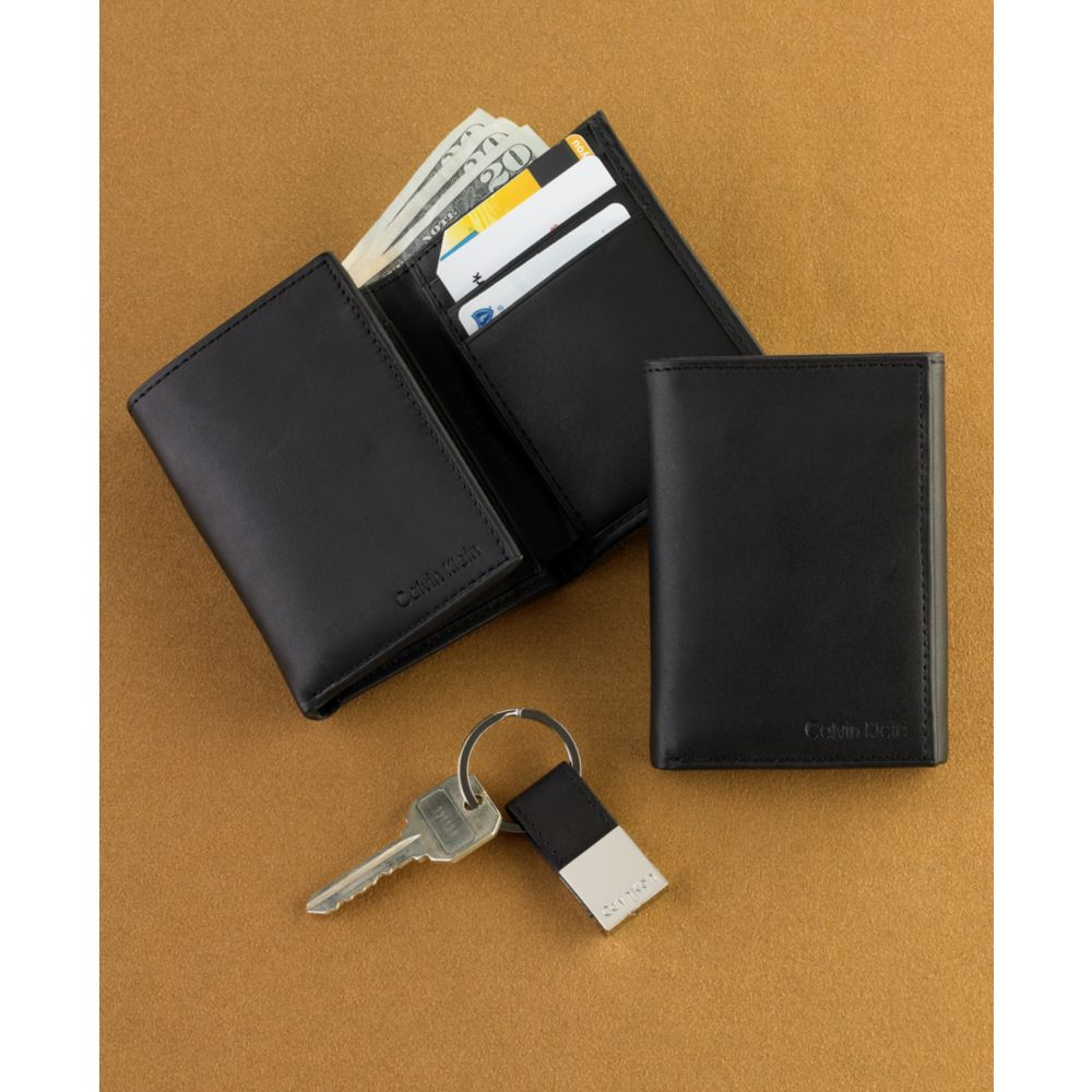 Calvin Klein Trifold Wallet And Key Fob Set In Black For