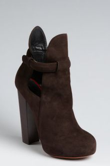 Celine Dark Brown Suede Cutout Stacked Heel Platform Booties - Lyst