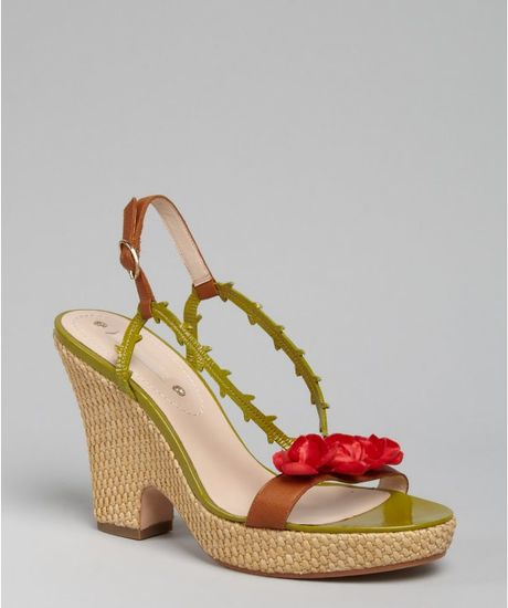 Celine Green Leather Rosette Wedges in Green