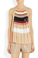 Chloé Pleated Silk Crepe De Chine Top in Multicolor (multicolored) - Lyst