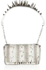 Christian Louboutin Artemis Spiked Watersnake Shoulder Bag in Gray - Lyst