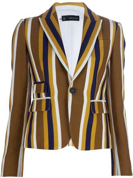 Dsquared2 Striped Jacket in Brown - Lyst