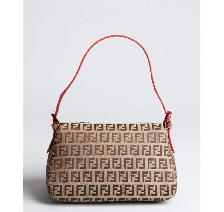 60d161cd42 Fendi Beige and Red Zucchino Canvas Mama Mini Shoulder Bag in ...