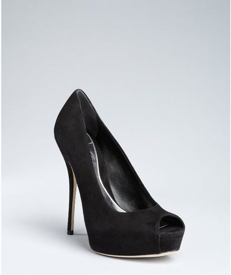 Gucci Black Suede Sofia Peep Toe Pumps in Black - Lyst