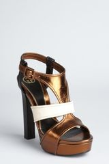 Gucci Bronze Colorblock Leather Andie Platform Sandals - Lyst