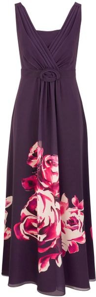 Jacques Vert Rose Border Print Maxi Dress in Purple (black) - Lyst