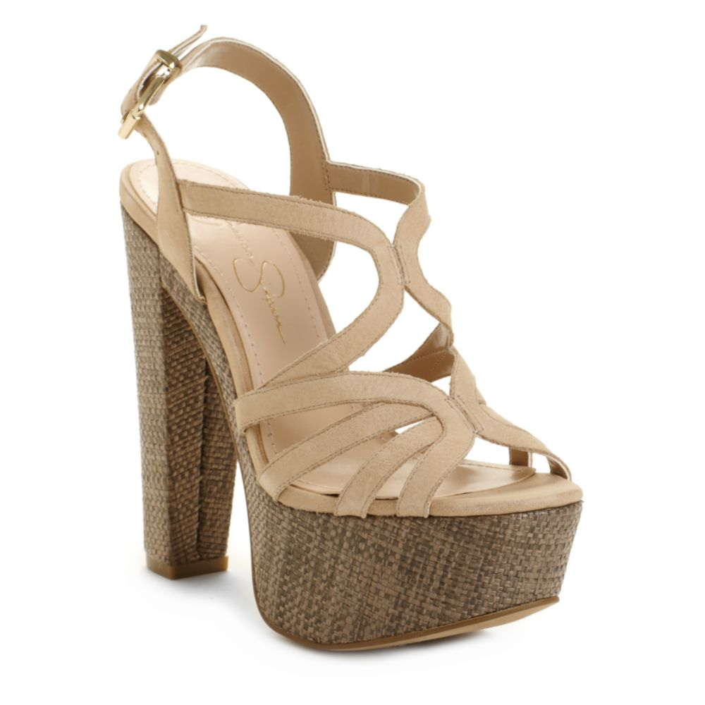 a096920350d8 Lyst jessica simpson cizal wedge sandals in natural jpg 1000x1000 Jessica  simpson tan wedges
