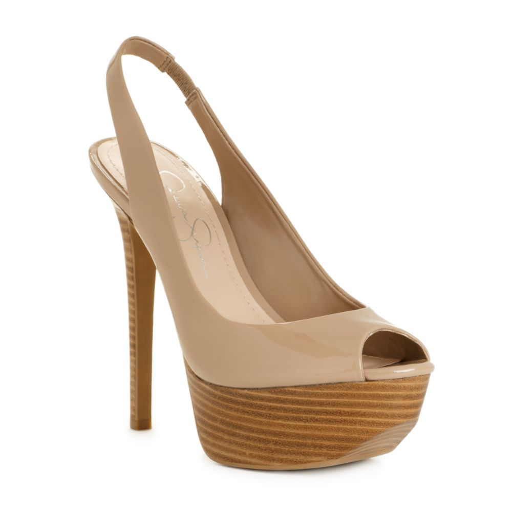 e77f966c4bac Lyst - Jessica Simpson Halie Platform Pumps in Natural