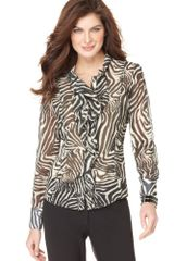 Jones New York Long Sleeve Ruffled Animal Print Button Down - Lyst