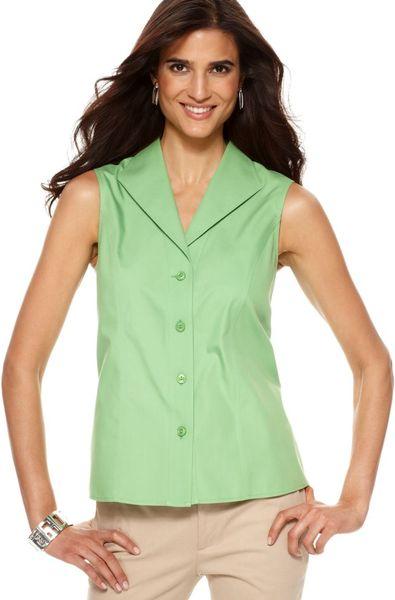 Jones new york sleeveless cotton button down in green for Sleeveless cotton button down shirts