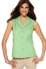 Jones New York Sleeveless Cotton Button Down - Lyst