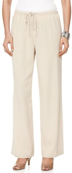 Jones New York Straight Leg Pull On Linen in Gray - Lyst