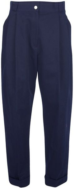 Kenzo High Waisted Trousers in Blue - Lyst