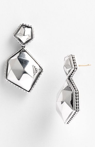 Lagos Silver Rocks Angled Drop Earrings in Silver - Lyst