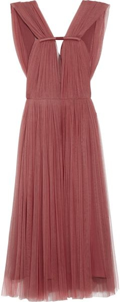Lanvin Pleated Silk Blend Tulle Dress in Brown (rust) - Lyst