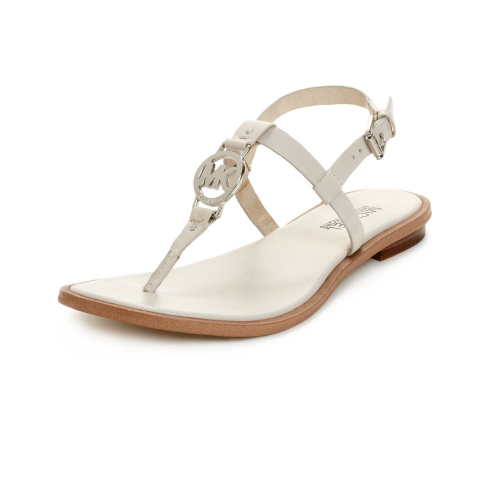 michael kors flat sandals in white lyst