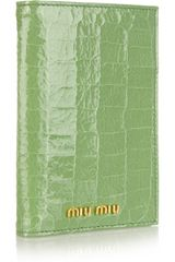 Miu Miu Croceffect Glossedleather Passport Holder in Green - Lyst