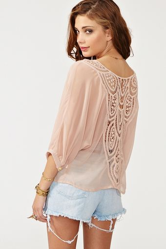 Nasty Gal Crochet Tie Top Blush - Lyst