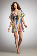 Oscar De La Renta Striped Silk Coverup in Multicolor (multi) - Lyst