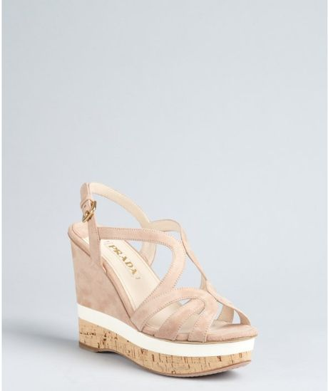 Prada Mauve Suede Cork Sole Wedge Sandals in Purple (mauve) - Lyst