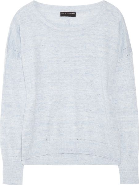 Rag & Bone Pamploma Marledknit Linen Sweater in Blue - Lyst