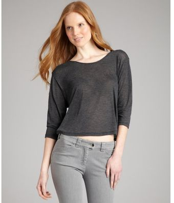 Rebecca Beeson Charcoal Jersey Patti Cropped Dolman Sleeve Top - Lyst