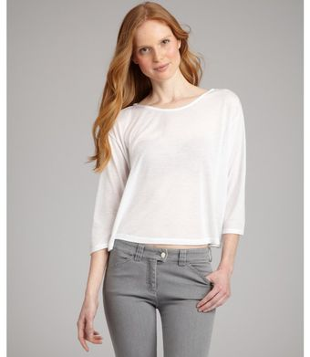 Rebecca Beeson White Jersey Patti Cropped Dolman Sleeve Top - Lyst