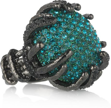 Roberto Cavalli RhodiumPlated Swarovski Crystal Ring in Blue (teal) - Lyst
