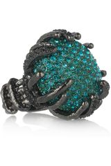 Roberto Cavalli Rhodium-Plated Swarovski Crystal Ring