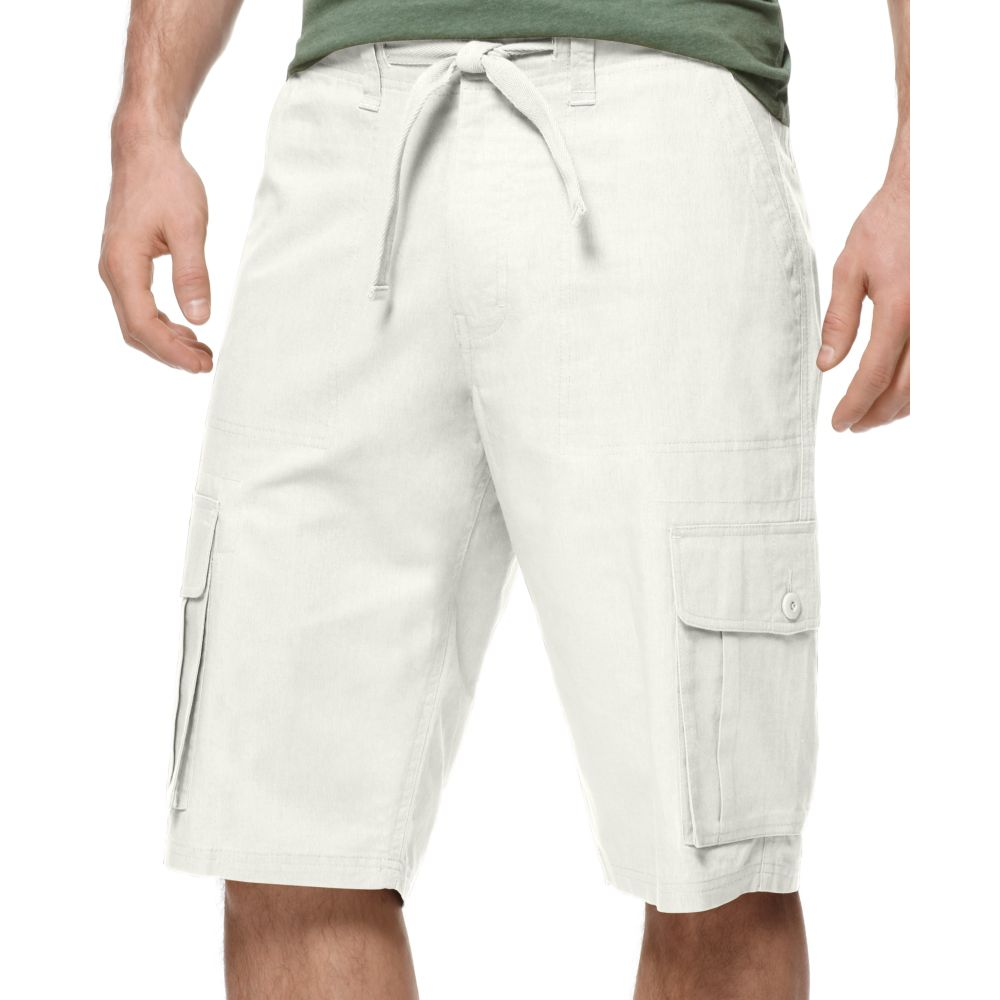 Sean john Linen Cargo Shorts in White for Men | Lyst