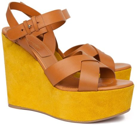 Sergio Rossi  Strappy Suede Wedges in Yellow - Lyst