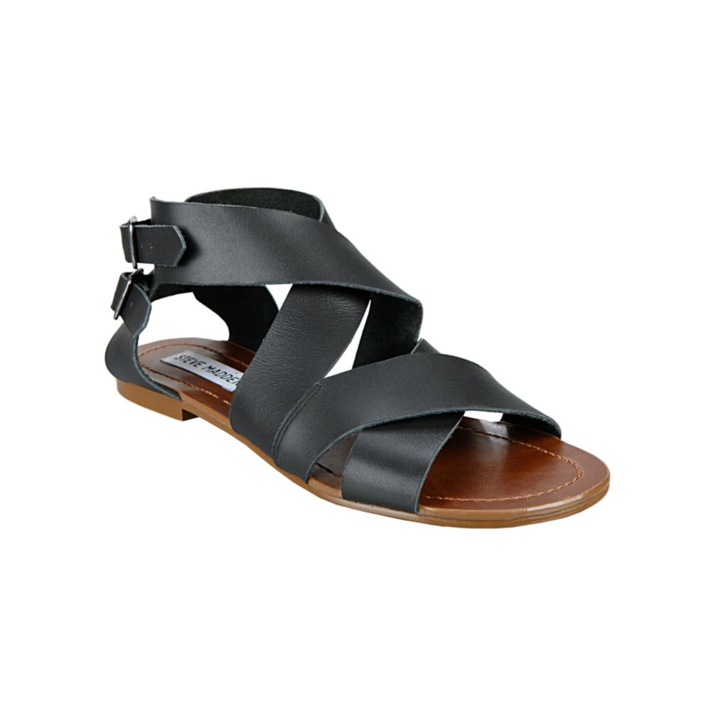 Steve madden achilees flat sandals in black lyst
